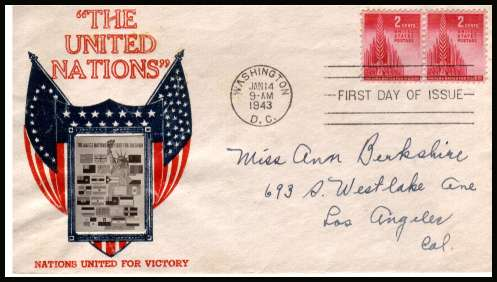 view larger image for First Day Covers First Day Covers: SG Number 904 / Scott Number  (1943) - United Nations 2c pair on an illustrated Crosby thermographed cachet in Red and Blue first day cover with hand written address cancelled with WASHINGTON - D.C. FDI cancel dated JAN  14 1943