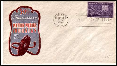 view larger image for  : SG Number 923 / Scott Number 926 (1944) - Motion Picture 3c single on an illustrated and UNADDRESSED Harry Ioor first day cover with neatly typed address cancelled with a NEW YORK FDI  