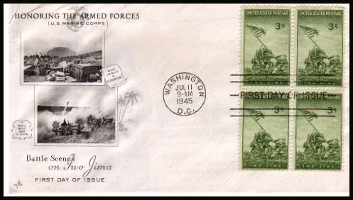 view larger image for First Day Covers First Day Covers: SG Number 930 / Scott Number  (1945) - Marines on Iwo Jima 3c single as a block of four on an UNADDRESSED ''Artcraft'' illustrated first day cover with cancelled with WASHINGDON - D.C. FDI cancel and dated JUL 11 1945