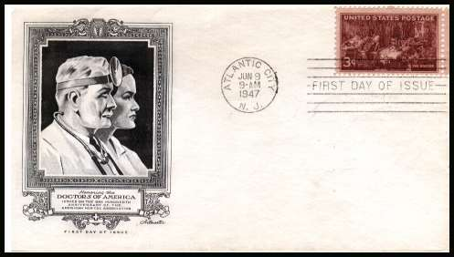 view larger image for First Day Covers First Day Covers: SG Number 946 / Scott Number  (1947) - Doctors 3c single on an unaddressed  Artmaster  illustrated first day cover with  ATLANTIC CITY - N.J.