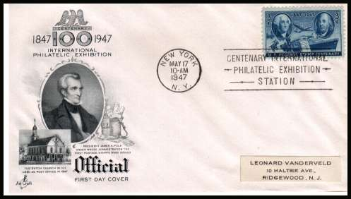 view larger image for First Day Covers First Day Covers: SG Number 944 / Scott Number  (1947) - Postage Centenary 3c single on an unaddressed  ''Artcraft'' illustrated first day cover with a NEW YORK 