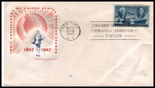 view larger image for First Day Covers First Day Covers: SG Number 944 / Scott Number  (1947) - Postage Centenary 3c single on an unaddressed  House of Farnham illustrated first day cover with a NEW YORK 