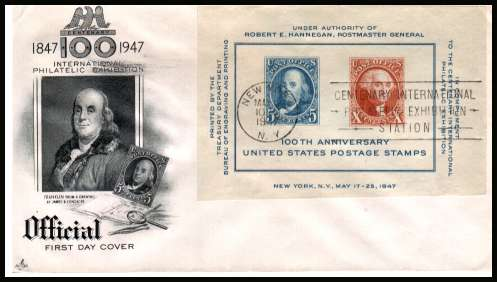 view larger image for First Day Covers First Day Covers: SG Number MS945 / Scott Number  (1947) - CIPEX Minisheet  on an unaddressed  ''Artcraft'' illustrated first day cover with a NEW YORK 