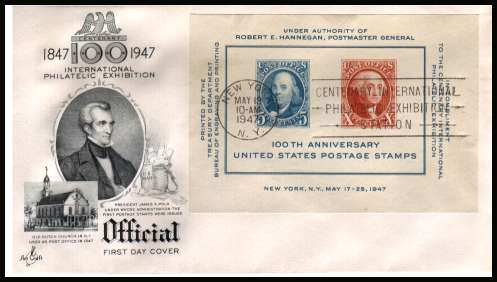 view larger image for  : SG Number MS945 / Scott Number 948 (1947) - CIPEX Minisheet  on an unaddressed  ''Artcraft'' illustrated first day cover with a NEW YORK 