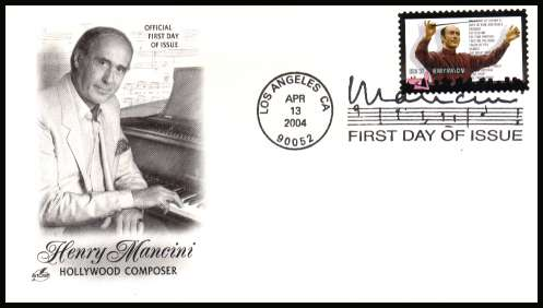 view larger image for First Day Covers First Day Covers: SG Number 4347 / Scott Number  (2004) - Henry Mancini - Hollywood Compser on unaddressed ''Artcraft'' illustrated first day cover with a LOS ANGELES - CA illustrated FDI cancel and dated APR 13 2004