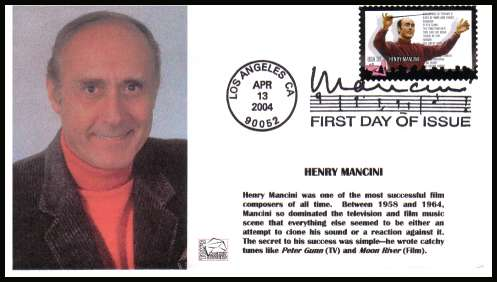 view larger image for First Day Covers First Day Covers: SG Number 4347 / Scott Number  (2004) - Henry Mancini - Hollywood Compser on unaddressed Tom's Cachet Design illustrated first day cover with a LOS ANGELES - CA illustrated FDI cancel and dated APR 13 2004