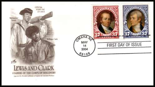 view larger image for First Day Covers First Day Covers: SG Number unlisted!! / Scott Number  (2004) - Lewis and Clark set of two  on unaddressed ''Artcraft'' illustrated first day cover with a GREAT FALLS - MT illustrated FDI cancel and dated MAY 14 2004