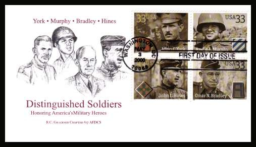 view larger image for  : SG Number 3778a / Scott Number 3396a (2000) - Distinguished Soldiers block of four on first day cover cancelled with an FDI cancel for WASHINGTON - D.C. and dated MAY 3 2000