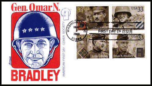 view larger image for  : SG Number 3778a / Scott Number 3396a (2000) - Distinguished Soldiers block of four on Cover Society first day cover cancelled with an FDI cancel for WASHINGTON - D.C. and dated MAY 3 2000