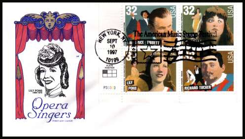 view larger image for  : SG Number 3352a / Scott Number 3157a (2000) - Opera Singers plate block of four on ''HF'' first day cover cancelled with an FDI cancel for NEW YORK - NY and dated SEPT 10 1997
