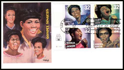 view larger image for  : SG Number 3449a / Scott Number 3219a (1998) - Gospel Singers plate block of four on Fleetwood  first day cover cancelled with an FDI cancel for NEW ORLEANS - LA and dated 15 JUL 1998