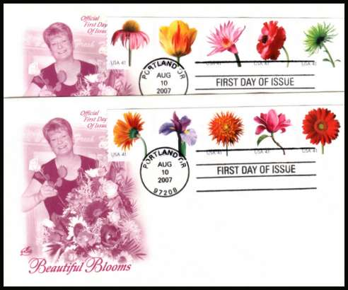 view larger image for First Day Covers First Day Covers: SG Number 4757-4766 / Scott Number  (2007) - Flowers coil strip of ten different on two ''Artcraft'' unaddressed first day cover cancelled with a FDI cancel for PORTLAND - OR dated AUG 10 2007