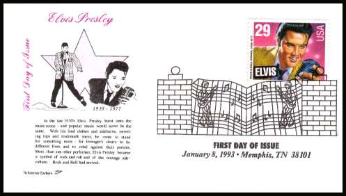 view larger image for  : SG Number 2769 / Scott Number 2721 (1993) - Elvis Presley sheet stamp inscribed ''ELVIS'' on unaddressed first day cover cancelled with the famous ''Gates at Graceland'' cancel dated 8 January 1993 - MEMPHIS TN