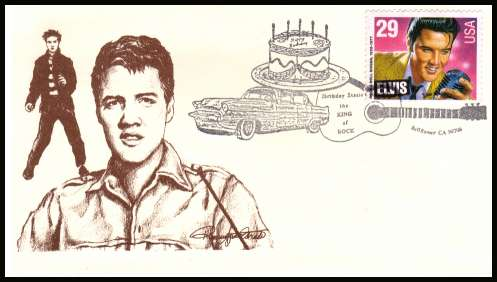 view larger image for  : SG Number 2769 / Scott Number 2721 (1993) - Elvis Presley sheet stamp inscribed ''ELVIS'' on unaddressed first day cover cancelled with a guitar and car cancel dated 8 January 1993 - BELLFLOWER - CA