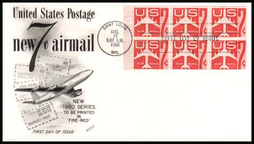 view larger image for First Day Covers First Day Covers: SG Number A1112a / Scott Number  (1960) - Jet Silhouette booklet pane of six on unaddressed Fleetwood first day cover cancelled with a SAINT LOUIS FDI cancel dated AUG 19 1960