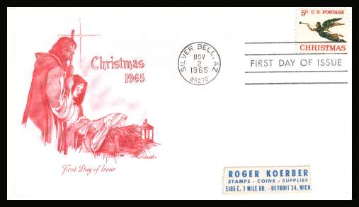 view larger image for First Day Covers First Day Covers: SG Number 1258 / Scott Number  (1965) - Christmas 5c single on addressed Artmaster first day cover cancelled with a FDI cancel for SILVER BELL - AZ 