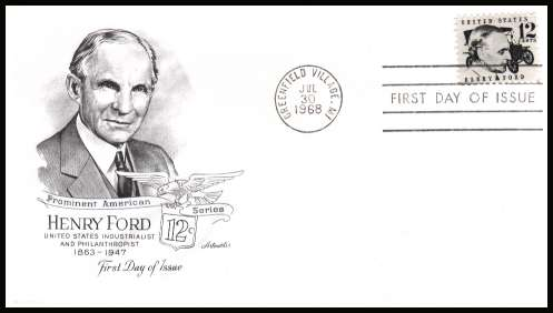 view larger image for First Day Covers First Day Covers: SG Number 1269 / Scott Number  (1968) - Henry Ford 12c single on unaddressed  ''Artmaster'' first day cover cancelled with a FDI cancel for