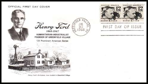 view larger image for First Day Covers First Day Covers: SG Number 1269 / Scott Number  (1968) - Henry Ford 6c single as a pair on unaddressed 1st Henry Ford Museum cachet first day cover cancelled with a FDI cancel for GREENFIELD VILLAGE - MI