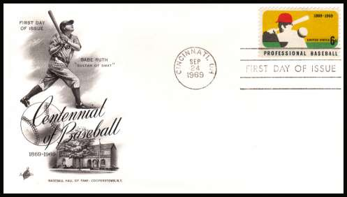 view larger image for  : SG Number 1369 / Scott Number 1381 (1969) - Professional Baseball 6c single on unaddressed ''Artcraft'' first day cover cancelled with a FDI cancel for CINCINNATTI - OH
