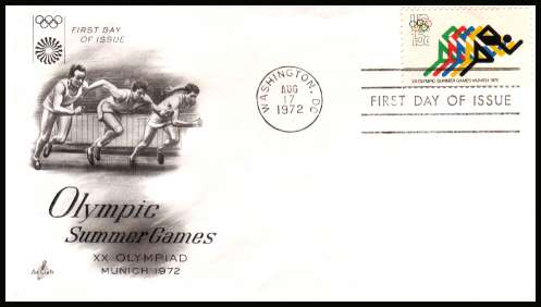 view larger image for  : SG Number 1466 / Scott Number 1462 (1972) - Olympic Games  - Munich 15c single on an unaddressed ''Artcraft'' first day cover cancelled with a FDI cancel for WASHINGTON - DC