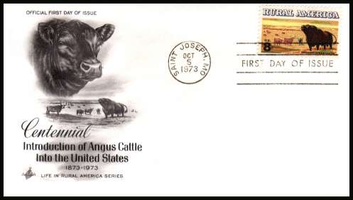 view larger image for  : SG Number 1510 / Scott Number 1504 (1973) - Rural America - Cattle 8c single on an unaddressed ''Artcraft'' first day cover cancelled with a FDI cancel for SAINT JO(SEPH - MO