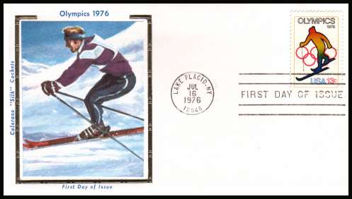view larger image for  : SG Number 1673 / Scott Number 1696 (1976) - Winter Olympics - Skiing 13c single on an unaddressed Colorono ''Silk'' first day cover cancelled with a FDI cancel for LAKE PLACID - NY