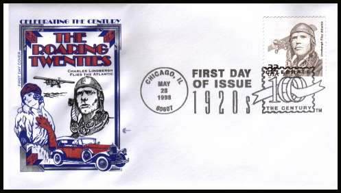view larger image for  : SG Number 3433 / Scott Number 3184m (1998) - Charles Lindbergh single from the 1920's ''Celebrate the Century'' sheet of 15 different designs on an unaddressed first day cover cancelled with a CHICAGO FDI special cancel dated MAY 28 1998