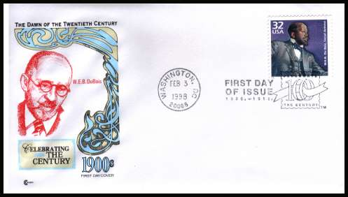 view larger image for  : SG Number 3388 / Scott Number 3183l (1998) - W.E.B. Du Bois single from the 1900's ''Celebrate the Century'' sheet of 15 different designs on an unaddressed first day cover cancelled with a WASHINGTON - DC