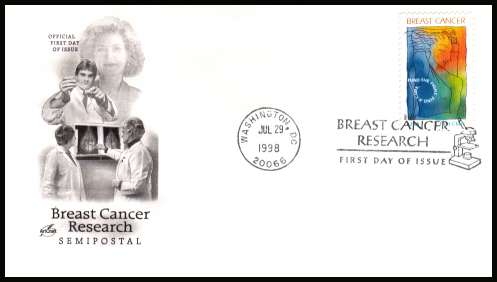 view larger image for First Day Covers First Day Covers: SG Number 3454 / Scott Number  (1998) - Breast Cancer Awareness single on an unaddressed ''Artcraft'' first day cover cancelled with a FDI  cancel for WASHINGTON - DC