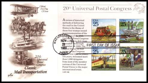 view larger image for  : SG Number MS2422 / Scott Number 2438 (1989) - Universal Postal Union minisheet on an unaddressed ''Artcraft'' first day cover cancelled with a FDI cancel for WASHINGTON - DC 