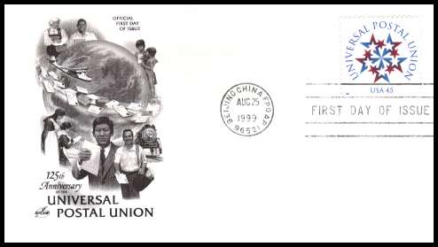 view larger image for  : SG Number 3639 / Scott Number 3332 (1999) - Universal Postal Union 45c single