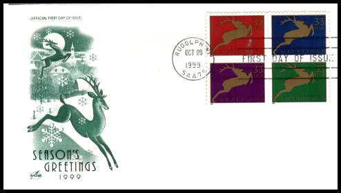 view larger image for  : SG Number 3700a / Scott Number 3359a (1999) - Christmas - Deer block of four ex sheets