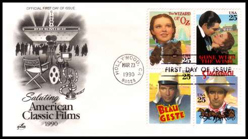 view larger image for  : SG Number 2475a / Scott Number 2448a (1990) - Classic Films block of four on an unaddressed ''Artcraft'' first day cover cancelled with a FDI cancel for HOLLYWOOD - CA