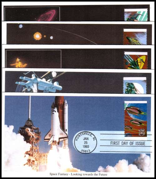 view larger image for  : SG Number 2770-2774 / Scott Number 2741-2745 (1993) - Space Fantasy 29c booklet pane set of five singles on five different unaddressed  Mystic colour first day covers cancelled with a FDI cancel for