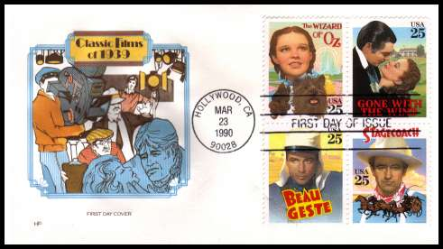 view larger image for  : SG Number 2475a / Scott Number 2448a (1990) - Classic Films block of four on an unaddressed  colour House of Farnham first day cover cancelled with a FDI cancel for HOLLYWOOD - CA