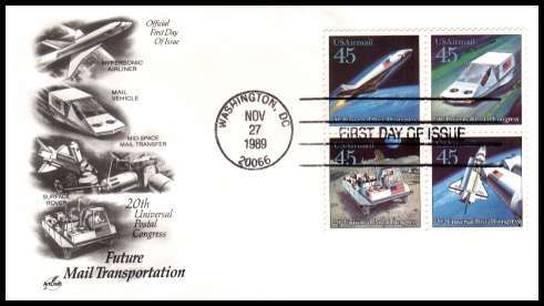 view larger image for First Day Covers First Day Covers: SG Number A2426a / Scott Number  (1989) - Furure Mail Transportation block of four on an unaddressed ''Artcraft'' first day cover cancelled with a FDI cancel for WASHINGTON - DC