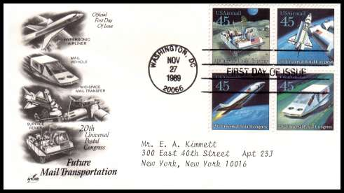 view larger image for First Day Covers First Day Covers: SG Number A2426a / Scott Number  (1989) - Future Mail Transportation block of four on a typed  addressed ''Artcraft'' first day cover cancelled with a FDI cancel for WASHINGTON - DC dated NOV 27 1989
