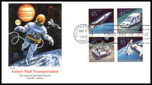 view larger image for First Day Covers First Day Covers: SG Number A2426a / Scott Number  (1989) - Future Mail Transportation block of four on an unaddressed Fleetwood first day cover cancelled with a FDI cancel for WASHINGTON - DC dated NOV 27 1989