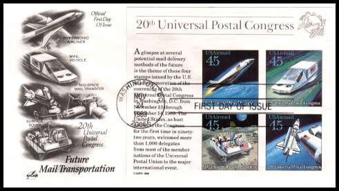 view larger image for First Day Covers First Day Covers: SG Number MSA2427 / Scott Number  (1989) - Future Mail Transportation minisheet  on an unaddressed ''Artcraft'' first day cover cancelled with a FDI cancel for