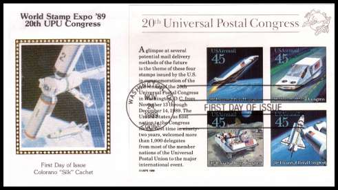 view larger image for  : SG Number MSA2427 / Scott Number C126 (1989) - Future Mail Transportation minisheet  on an unaddressed Colorano ''Silk'' first day cover cancelled with a FDI cancel for