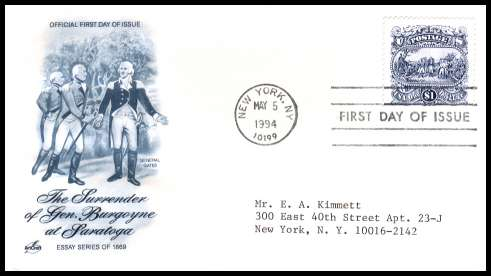 view larger image for  : SG Number 2901 / Scott Number 2590 (1994) - $1 Surrender of General Burgoyne single on a typed addressed ''Artcraft'' first day cover cancelled with a FDI cancel for NEW YORK - NY dated MAY 5 1994