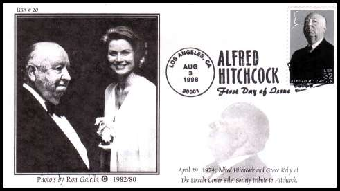 view larger image for First Day Covers First Day Covers: SG Number 3465 / Scott Number  (1998) - Legends of Hollywood - Alfred Hitchcock on an unaddressed 