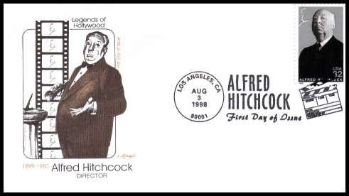 view larger image for First Day Covers First Day Covers: SG Number 3465 / Scott Number  (1998) - Legends of Hollywood - Alfred Hitchcock on an unaddressed Artmaster