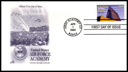 view larger image for First Day Covers First Day Covers: SG Number 4346 / Scott Number  (2004) - U.S. Air Force Academy 37c single on unaddressed ''Artcraft'' first day cover cancelled with a FDI cancel USAF ACADEMY - CO dated APR 1 2004