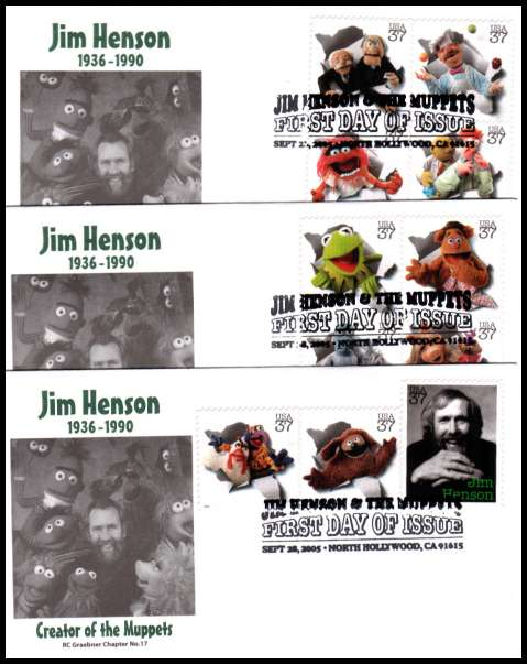 view larger image for First Day Covers First Day Covers: SG Number MS4482 / Scott Number  (2005) - Jim Henson and the Muppets set of singles from the minisheet on three first day covers cancelled with a special cancel for NORTH HOLLYWOOD dated SEPT 28 2005