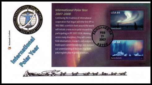 view larger image for First Day Covers First Day Covers: SG Number MS4685 / Scott Number  (2007) - International Polar Year Minisheet on unaddressed McIntosh Cachets first day cover cancelled with a FDI cancel for FAIRBANKS - AK dated FEB 21 2007