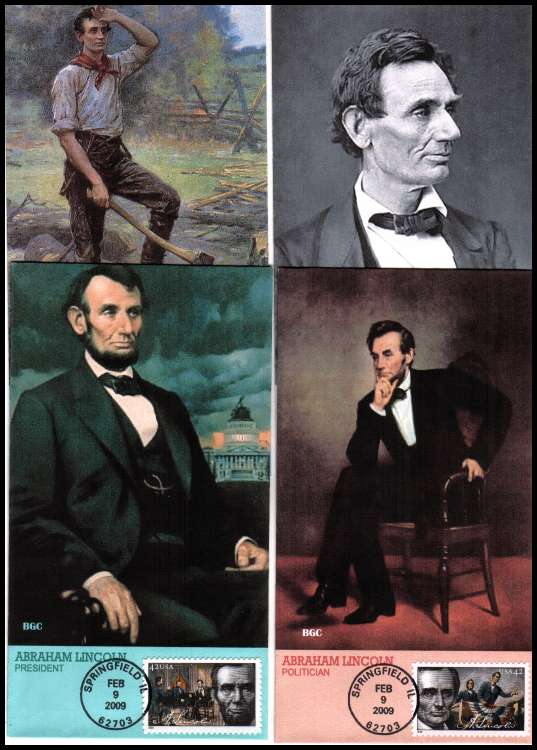 view larger image for First Day Covers First Day Covers: SG Number 4931-4934 / Scott Number  (2009) - Birth Bi-Centenary of Abraham Lincoln  set of four on four stunning  edge-to-edge full colour BGC