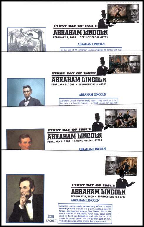 view larger image for First Day Covers First Day Covers: SG Number 4931-4934 / Scott Number  (2009) - Birth Bi-Centenary of Abraham Lincoln  set of four on four GLEN CACHET