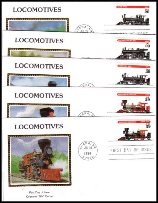 view larger image for  : SG Number 2923-2927 / Scott Number 2843-2847 (1994) - Locomotives set of five booklet singles  on a set of five different  Colorano ''Silk''  first day covers cancelled with a FDI cancel for CHAMA - NM dated JUL 29 1994