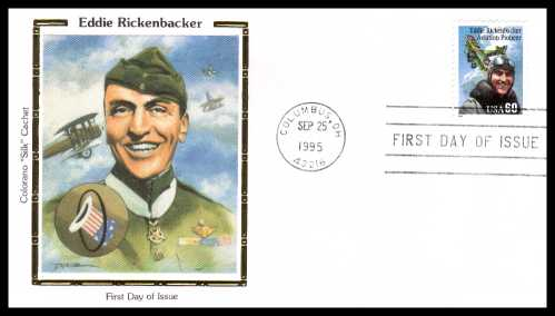 view larger image for  : SG Number 3117 / Scott Number 2998 (1995) - Eddie Rickenbacker 60c single on an unaddressed Colorano ''Silk'' first day cover cancelled with a FDI cancel for COLUMBUS - OH